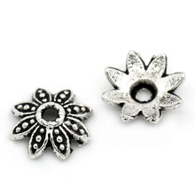 "New Diy Bead Caps Jewelry Metal Bead Caps Flower Findings And Components Antique Silver Tone 8mmx8mm(3/8""x3/8""), 200PCs"