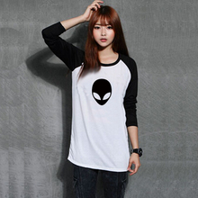 Buy Womens Black White Raglan Long Sleeve Alien Logo Print T Shirt Women Novelty Tshirt Full Sleeves Printed Clothes Girls Clothing for $24.99 in AliExpress store
