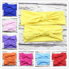 Mom children rabbit ears headband hair knot headwrap turban ornaments tie bow paternity stretch cotton headbands accessories
