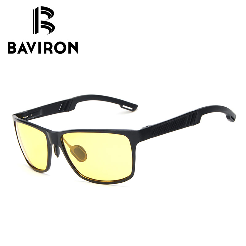 BAVIRON Night Driving Sunglasses Men Al Mg Glass Wrap Square Polarized Sun Glasses Tinted Lenses General Population Eyewear 8217<br><br>Aliexpress