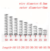 50pcs  0.5mm Stainless Steel compression spring. outer diameter=5mm length 5/10/15/20/25/30/35/40/45/50