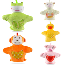 Cute Puppets Monkey Pig Frog Sheep Duck Family Finger Puppets Baby Kids Development Pretend Plush Hand Toys(China)