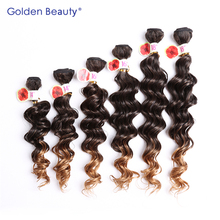 Golden Beauty 6pcs/pack 14-18inch Loose wave ombre blond color Synthetic fiber hair weft of sew in weaving hair(China)