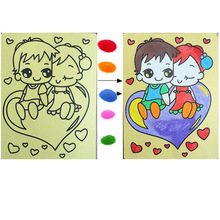 5pcs 15*20cm BOHS Colored Sand Painting Of Children Drawing Toys, Random Patterns(China)