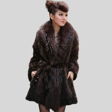 Fur Story 151129 Winter Coats Women 2016 Handmade Knitted Real Mink Coat with Luxury Raccoon Fur Collar Placket Natural Fur Coat