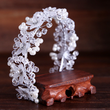 TUANMING Silver High-end Tiara Luxury Bridal Headband Handmade Crystal Bead Flower Hairband Wedding Dressing Crowns Accessory(China)