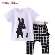 Summer Boys Clothes 2017 New Baby Boy Clothing Set Pattern Rabbit Toddler Boys Clothing Plaid Kids Clothes Children Clothing Set(China)