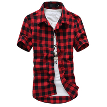 Plaid Shirt Men Shirts 2017 New Summer Fashion Chemise Homme Mens Checkered Shirts Short Sleeve Shirt Men Cheap Red And Black(China)