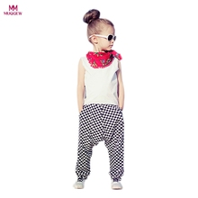 1Set Fashion Cool Children Girls Outfit Clothes Summer Sleeveless Vest Shirt Tops+Plaid Haren Long Pants Trousers Clothes Sets(China)