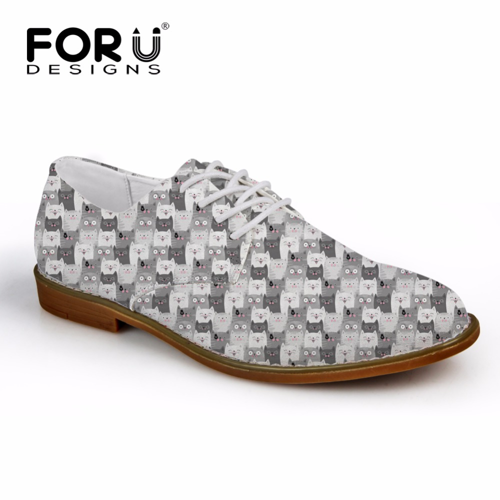 FORUDESIGNS Synthetic Oxford Shoes for Men Flats Cute Animal Cat Print Men Casual Leather Shoes Mens Business Dress Shoes Man <br>