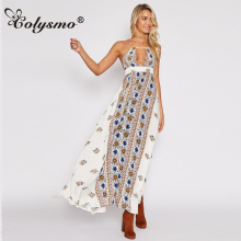 Colysmo Sexy Bohemian Dress Wrap Chest Wrapped Beach Summer Dress Sleeveless Shoulder Dresses Open Back Loose Vestidos 2018 New(China)
