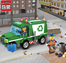 196pcs Building Blocks City Series Garbage Trucks Rubbish Collector Ash Car Toy Children Birthday Present Intelligence Plaything(China)
