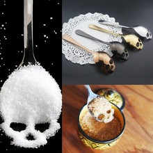 15.1*3.4*0.25cm Skull Shaped Spoon 304 Stainless Steel Coffee Spoon  Dessert Ice Cream Sweets Teaspoon Stainless Food Cutlery