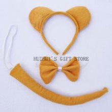 Free shipping halloween cosplay Animal ear set Bear ear headband bow tie tail ,masquerade party suppliers(China)