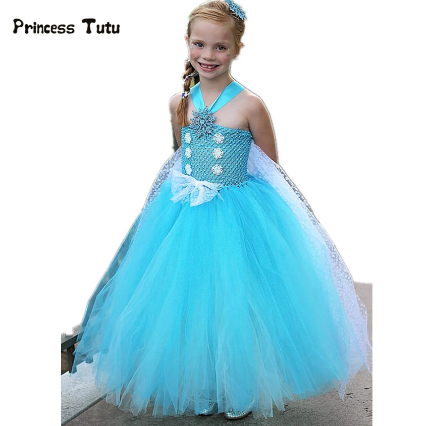 Elsa Costume Girl Mesh Tulle Princess Anna Elsa Dress With Cape Tutu Dress Girl Kids Party Christmas Halloween Cosplay Costume <br>