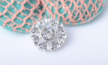 Free Shipping Crystal Rhinestone Embellishment Sew On Flower Center 14mm 20pcs/lot Shank Back Silver Color