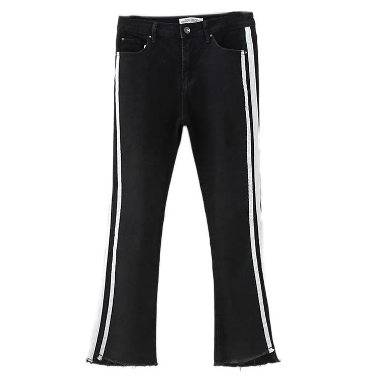 In the spring of 2017 new European style fashion all-match nine pants side double micro horn thin jeans femaleÎäåæäà è àêñåññóàðû<br><br>