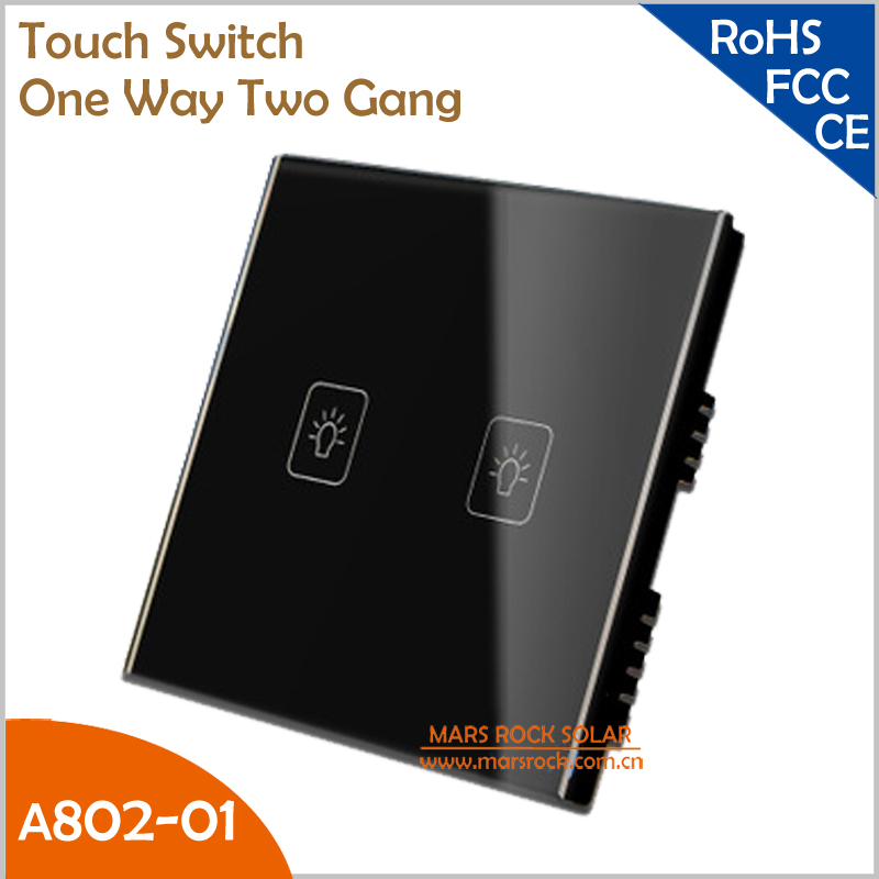 UK Touch Switch Tempered Crystal Glass Panel Smart One Way Two Gang Wall Switch with White, Black and Gold Color for Choice<br><br>Aliexpress