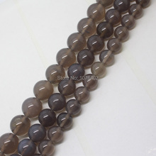 Mini. order is $7!4,6,8,10,12,14mm Gray Agates Round Spacer Loose Beads 15""