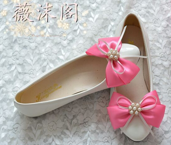 In stock! Red bow bowtie bridal shoes for women white color pink red pearl  wedding party shoe XNA 082<br><br>Aliexpress