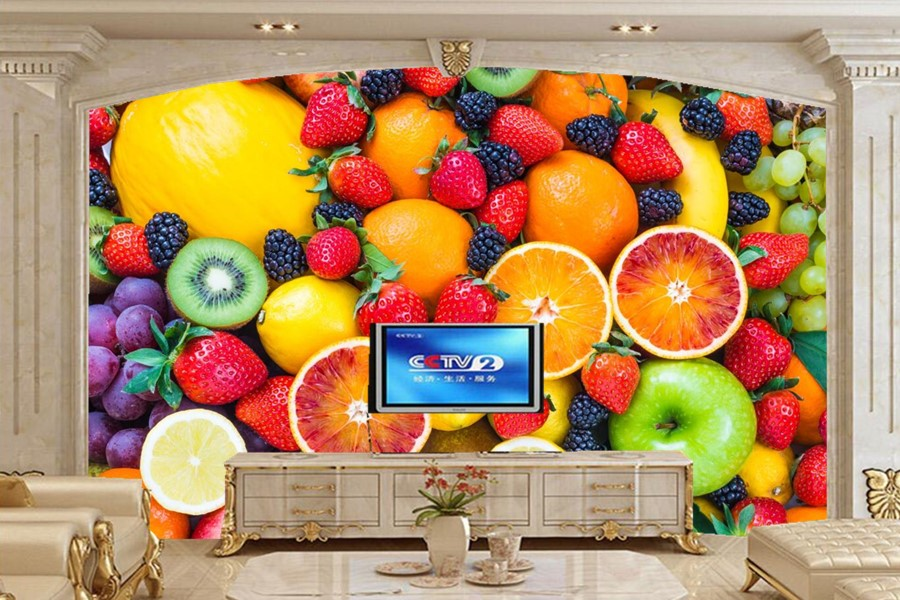 Custom all kinds of fruits food wallpaper papel de parede,coffee shop restaurant dining room sofa tv wall kitchen wallpaper<br>