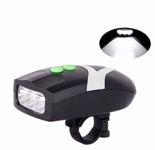 3 LED Bike Light Set Bicycle Light White Front Head Light Cycling Lamp + Electronic Bell Horn Hooter Siren Waterproof(China)