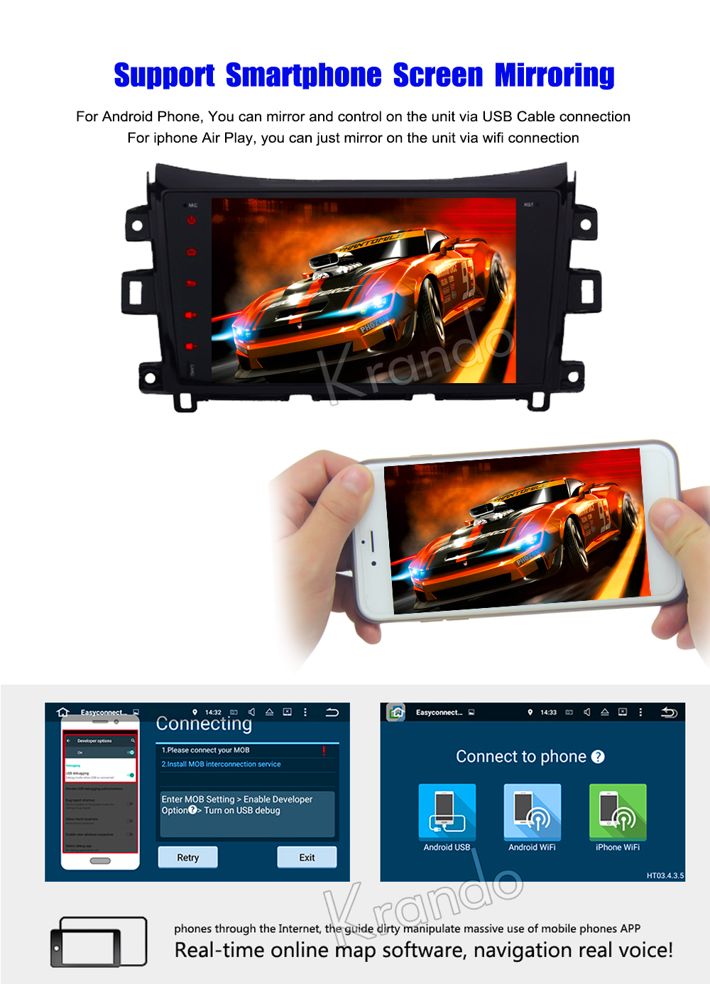 Krando Android car radio gps navigation multimedia system for Nissan NAVARA NP300 (1)
