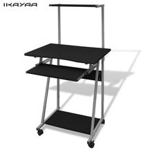 iKayaa black desktop computer table with wheels and tray Office Table FR Stock