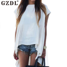 GZDL Women O Neck Cap Sleeve Draped Asymmetrical Hem Casual Loose Summer Blouse Shirt Tops Blusas Femininas Plus Size CL2965