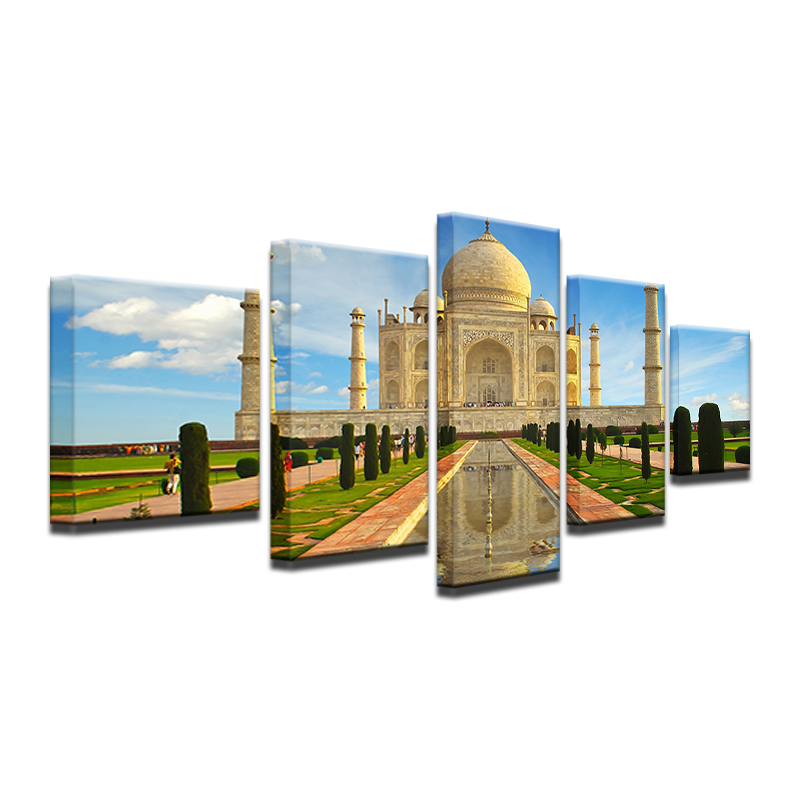 Modern-Abstract-5-Panel-Taj-Mahal-Reflection-Landscape-Picture-Painting-On-The-Canvas-For-Frames-Drop (4)