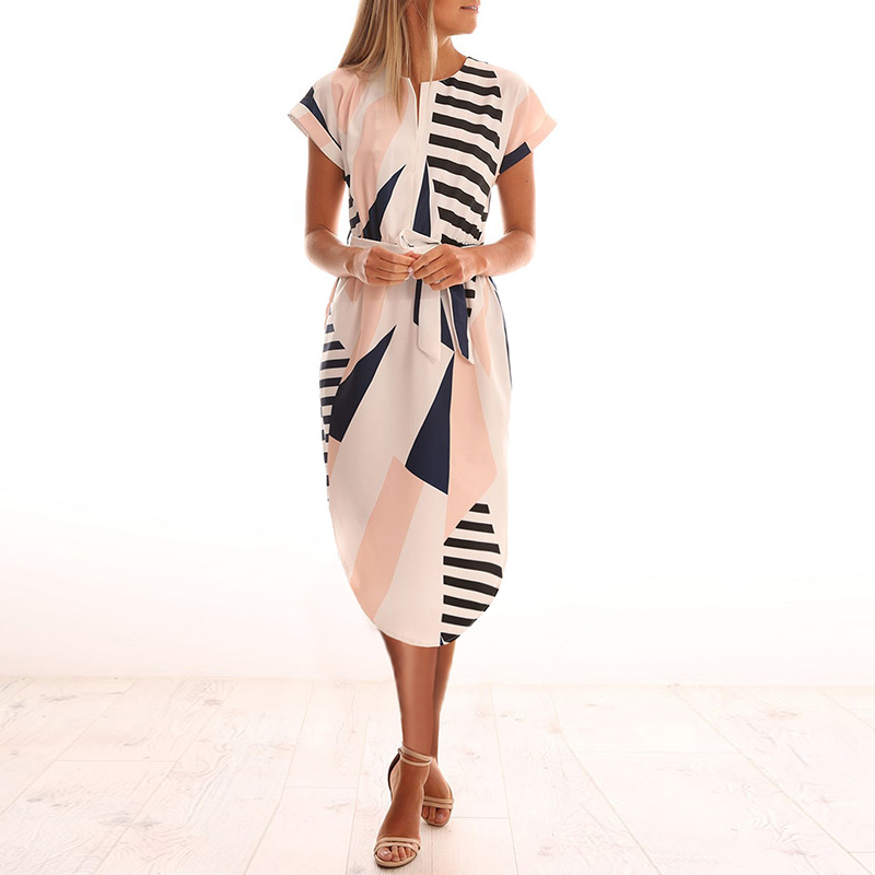 2018 Summer Dress Women Print V Neck Short Sleeve Robe Female Dresses Casual Sashes Midi Dress Ladies Elegant Vestidos Dropship 6