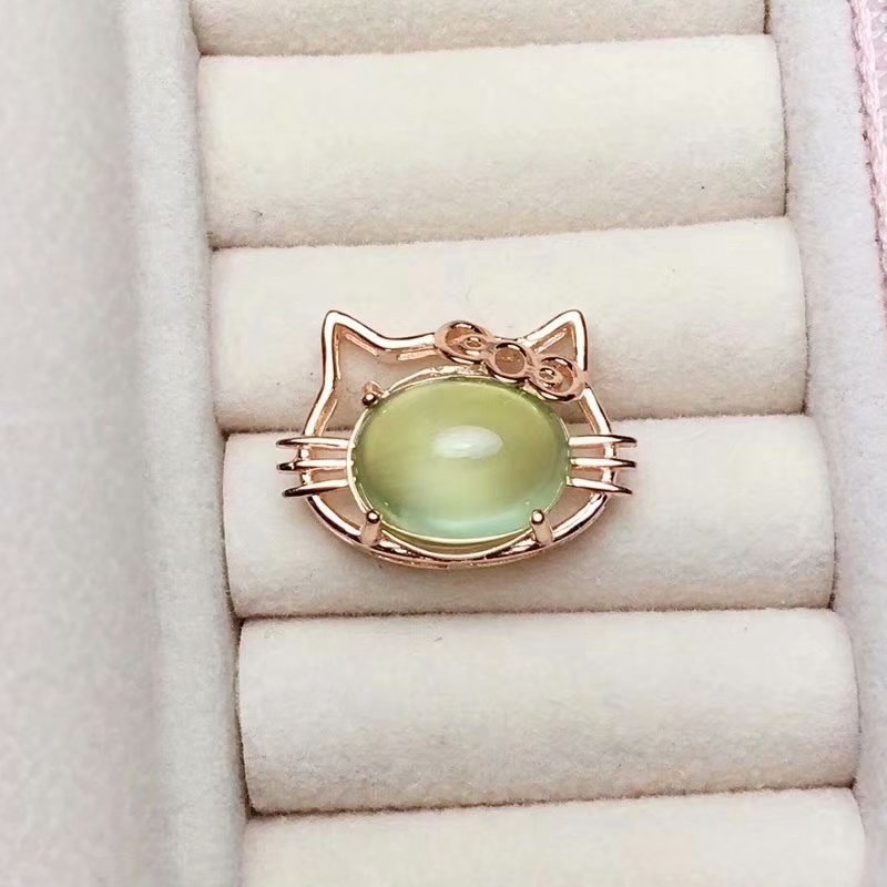 Fidelity natural 10*12mm prehnite pendants s925 sterling silver Cute cat fine jewelry gift for women natural green gemstone