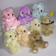 20PCS/Lot Kawaii Small Size 13Cm Joint Teddy Bears Stuffed Plush Toy Bears Pendant Plush Toys Wedding Gift Ship By Mixed Color(China)