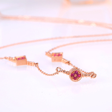 Robira Vintage Geometry Collection Unique Statement Charms Necklace 14K Rose Gold Necklaces Natural Ruby OL Design Women Jewelry(China)