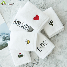 HAKOONA Thick Absorbent INS Embroidery AWESOME  Equation Cactus Heart Crown White Cotton Face Towel  Bath Hand  Towels  3 Sizes