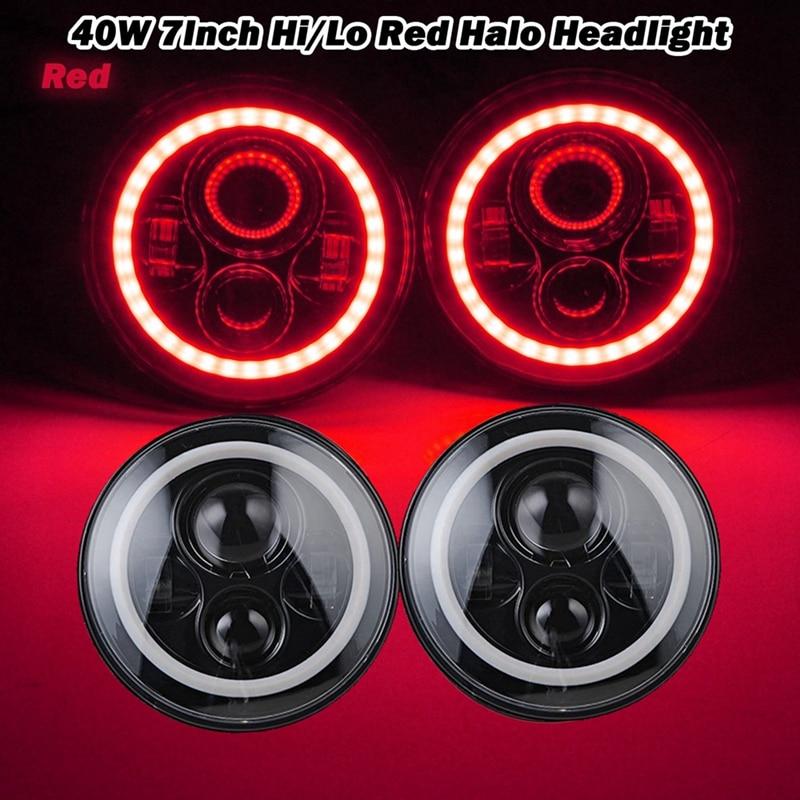 2x 7 40W LED Headlights Bulb Halo DRL for Jeep Wrangler JK CJ LJ Hummer H1 H2 LED Headlamp Projector Driving Lamps<br><br>Aliexpress
