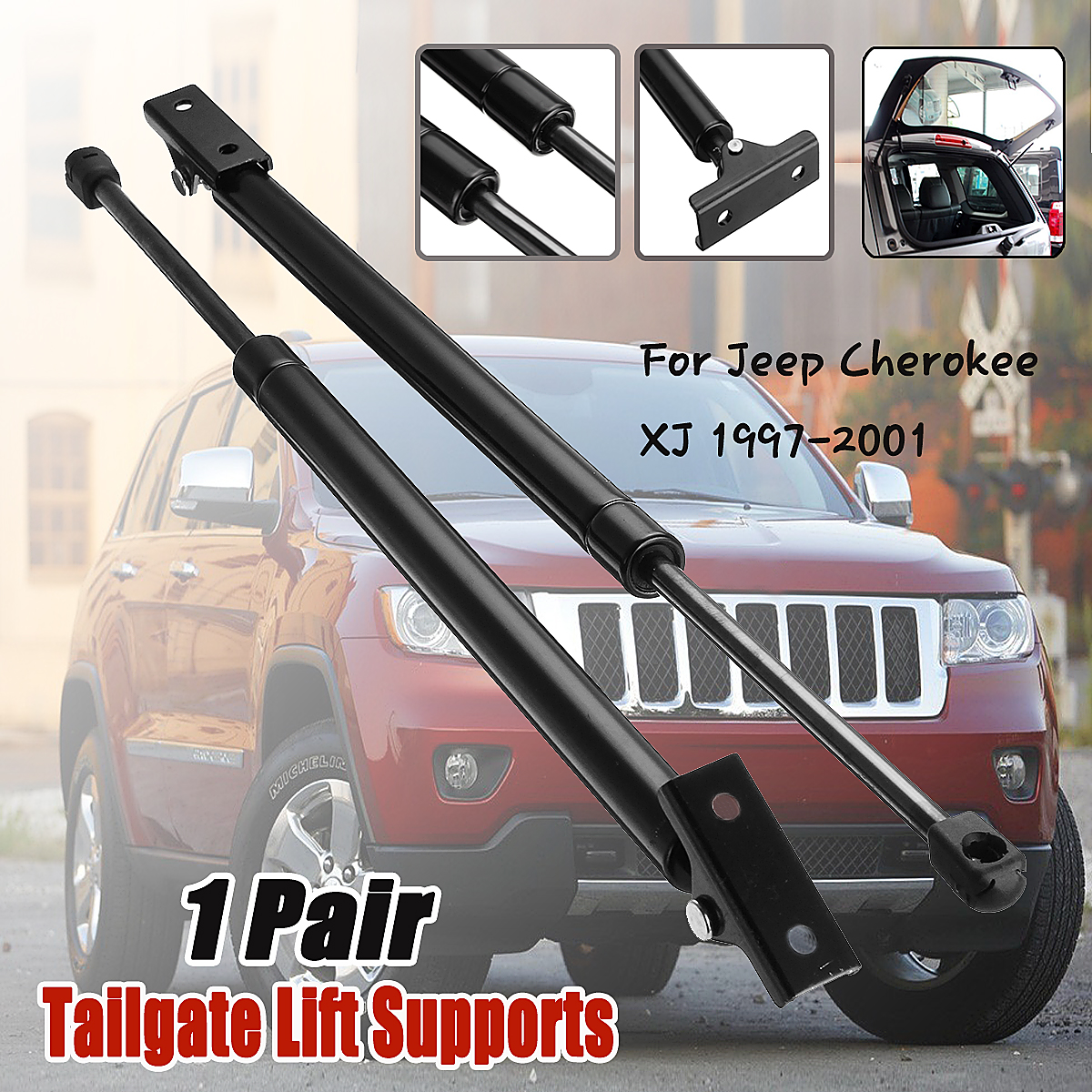 For 1997-2001 Jeep Cherokee Tailgate Hatch Lift Supports Struts Shocks Rear Pair