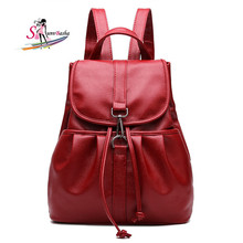 Casual women Schoolbag 2017 new autumn and winter women's shoulder bag college wind PU leather solid wild large backpack