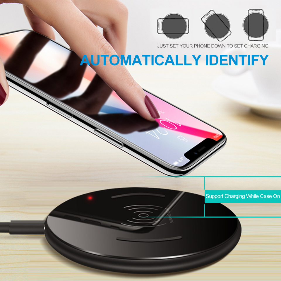 15W Universal Qi Wireless Charger Fast Charging Pad for iPhone X XS Max XR 8 Plus Portable Phone Charger for Samsung S9 S8 Note9