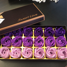 18Pcs Creative Gradient simulation rose Soap flower purple pink red blue(China)