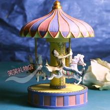 2014 new hot sale Carton jimi resin music box rotating carousel music box birthday gifts for girls for children