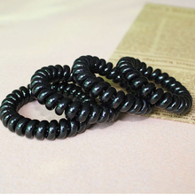 4pcs Solid Black Color Telephone Wire Line Hair Bands High Quality Elastic Gum For Hair Bands Invisible Traceless Hair Ring Gum