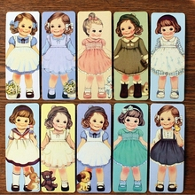 TIAMECH 30sheets/set Free Shipping Retro kawaii doll Bookmark Cartoon Cute moppet book marks H0932(China)