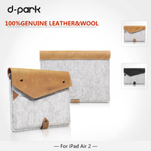 Free Shipping D-park Simple Style Wool Felt & Crazy horse leather sleeve Case For ipad air 2 bags For ipad pro 9.7 inch Tablet(China)