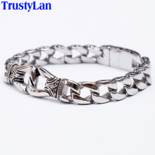 TrustyLan Fashion New Stainless Steel Charm Bracelet Men Vintage Totem Mens Bracelets 2017 Cool Male Jewelry Wristband Jewellery(China)