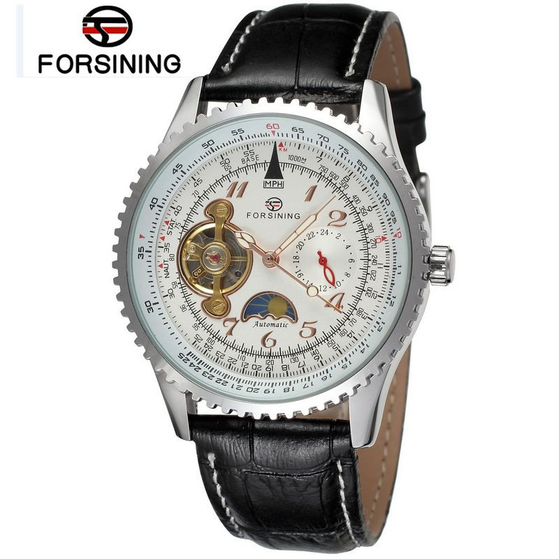 2017 New Forsining Mens White Dial Moonphase Flywheel Automatic Mechanical Leather Wrist Watch Free Ship Gifts<br>