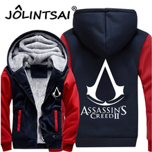 2017 Men Thick Warm Hooded Sweatshirts Assasins Creed Fleece Lined Coat Revolutionary Game Hoodies Hip Hop Men Jackets 4XL(China)
