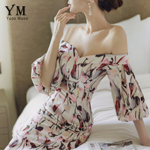 Buy YuooMuoo Women Party Dresses Elegant Evening Slash Neck Sexy Club Dresses Push Shoulder Print Floral Dress Vestidos for $25.25 in AliExpress store