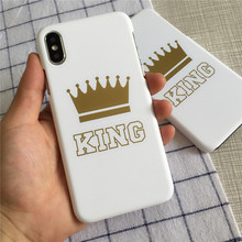New fashion crown KING frosted hard shell FOR iphoneX foreign trade phone case FOR iphone8plus simple QUEEN shell Business matte(China)