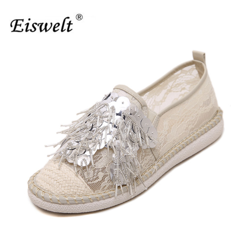 EISWELT Fashion Women Fresh Lace Breath FlowersTassel Straw Handemade Beaded sequins Comfortable Flat Shoes Size35-40#LQ58<br>